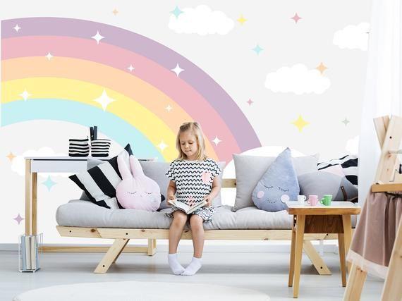 Large Rainbow Wallpaper Black Friday Unicorn Rainbow Wall Etsy In 2021 Kids Room Wallpaper Girl Room Kids Room Murals