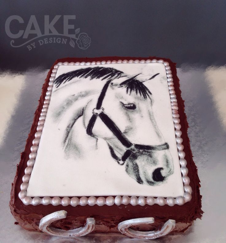 Horse themed cake: Just look at this beautiful original sketch by a talented member of my family which I had printed on rice paper. What a wonderful way to wish someone a happy birthday. A dark Lindt chocolate ganache cake never looked so handsome :)