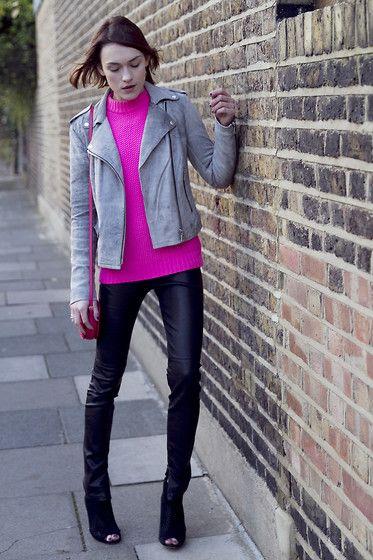 Armani Exchange  Jacket, Jaeger Jumper, Armani Exchange  Trousers, Valentino Bag, Karen Millen Booties