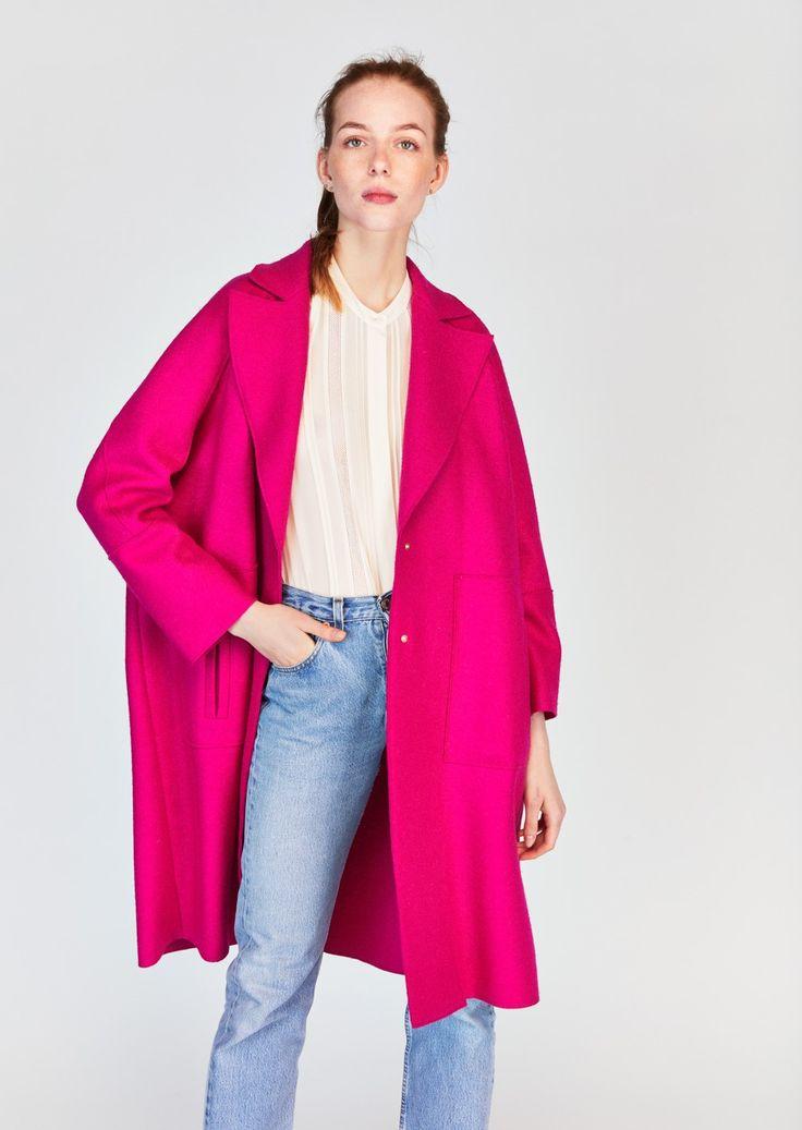 Manteau rose bonbon en laine vierge - femme - tara jarmon 1