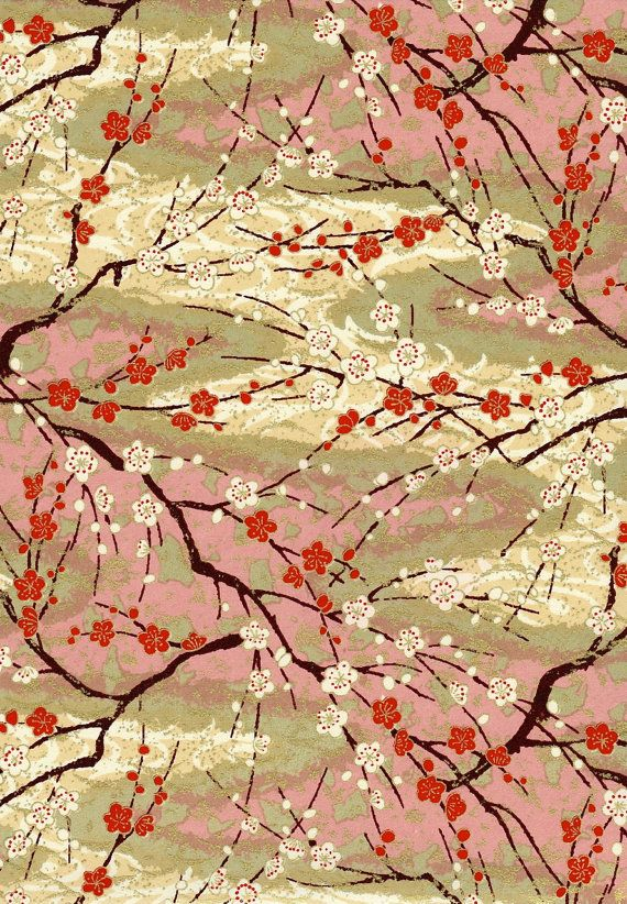 Pink Red Blossom Branch Japanese Yuzen Chiyogami by mosaicmouse