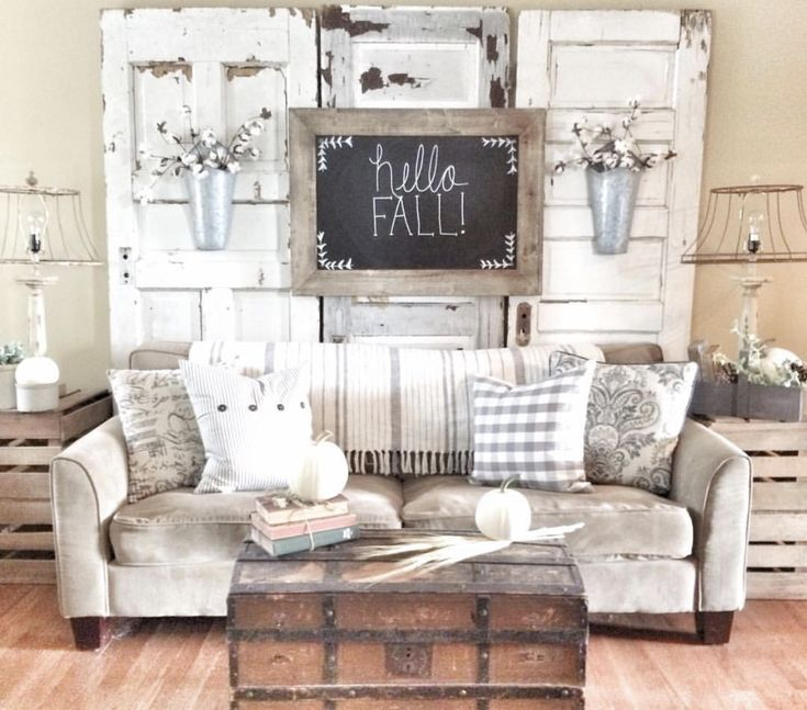 Farmhouse Living Room! Using Vintage Chippy Doors Behind Couch. IG  @bless_this_nest