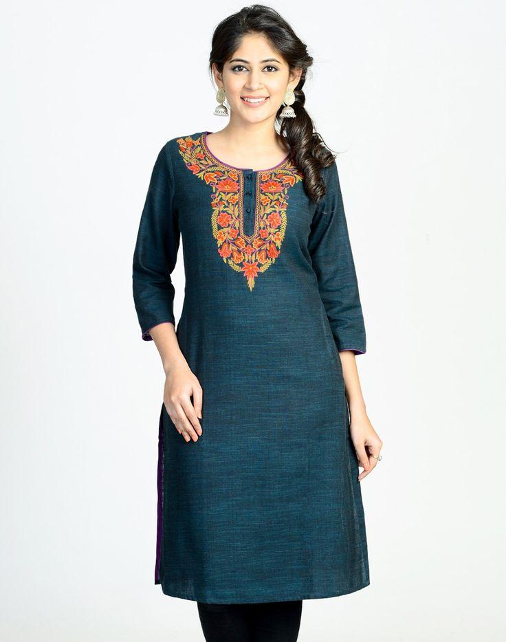 Cotton Slub Kashmiri Embroidery Long Kurta | Kurtas | Pinterest | Embroidery Cotton And Kurti