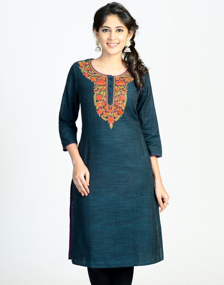 Cotton Slub Kashmiri Embroidery Long Kurta