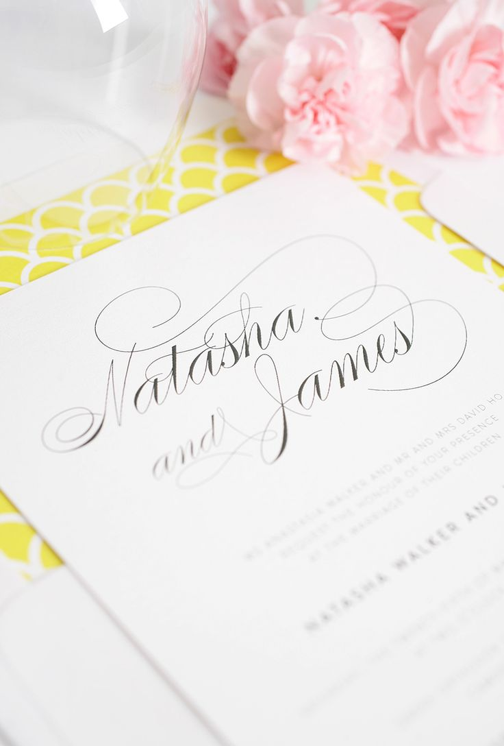 Yellow Wedding Invitations With Gorgeous Calligraphy Font