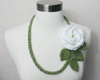 Lovely Crochet Dusty Green Large Petal White Rose Necklace