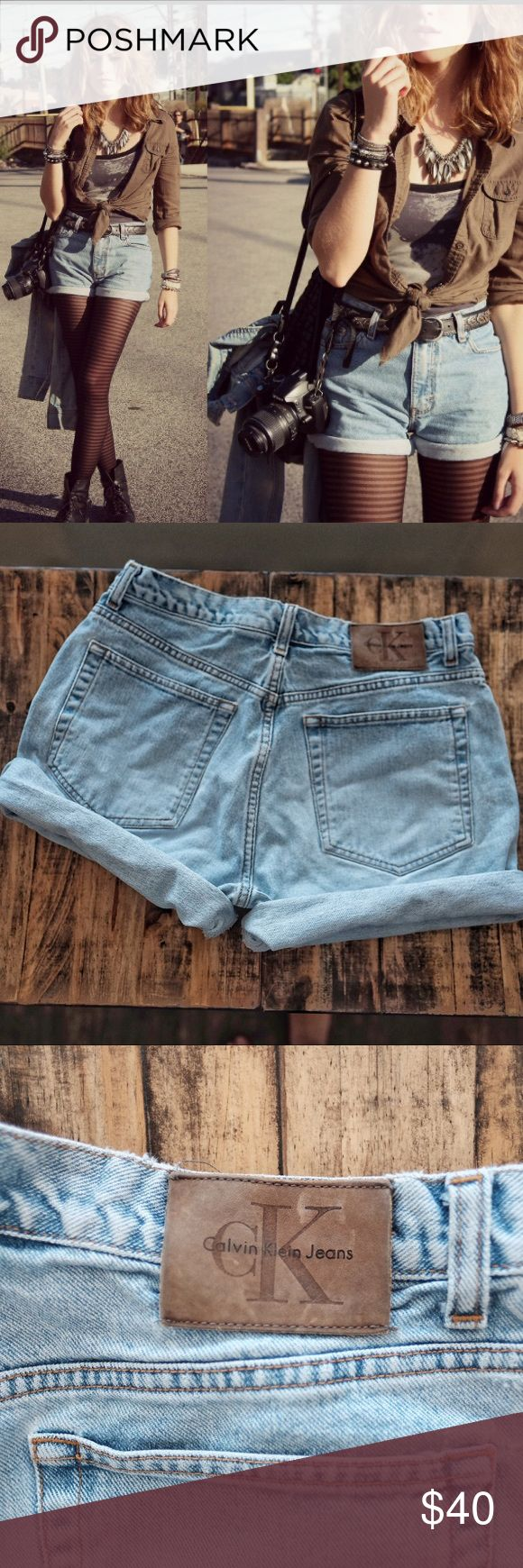 """Calvin Klein Vintage High Waisted Jean Shorts Calvin Klein Vintage High Waisted Jean Shorts. Classic pair of Calvin Klein high waisted jean shorts perfect for summer! In EUC no stains holes ripe or tears. Comes from a pet free and smoke free home. Medium light wash. Size 11. Please note measurements as this size runs small! Rise (crotch to waist): 12"""" Inseam unrolled: 4.5"""" Waist across: 15.5"""". Happy poshing! Calvin Klein Jeans Shorts Jean Shorts"""