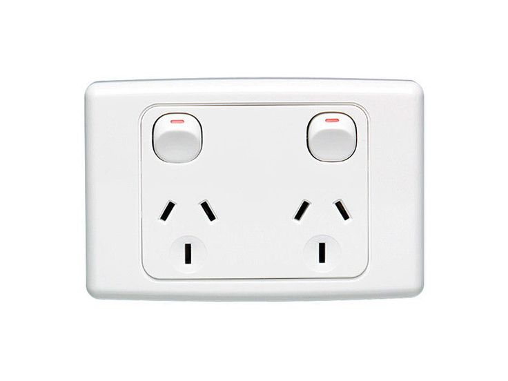 1 x Clipsal 2025 Double Power Point 10A GPO, Twin Switched Sockets White