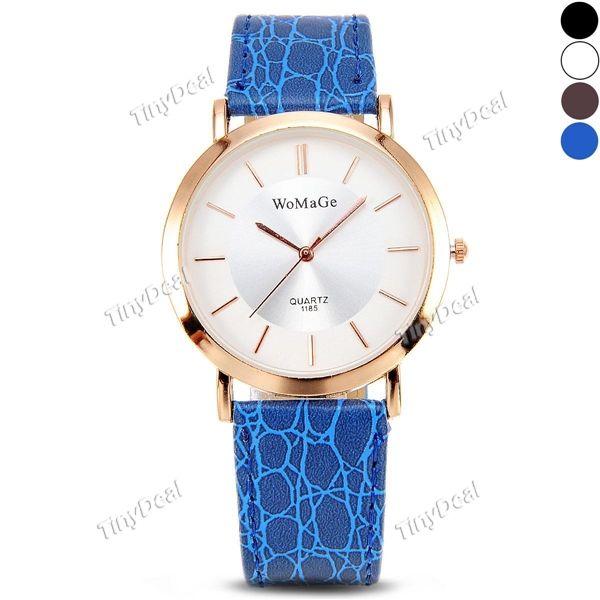 изящный минималистский стиль розового золота дело пу кожаный ремешок кварцевый женские часы WWT-399743