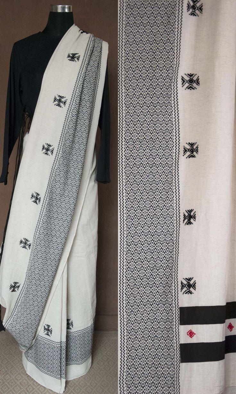 m76 Toda Tribal Hand Embroidered Khadi Cotton Sari