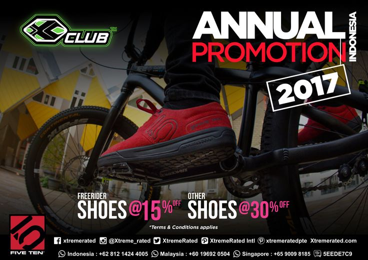 Indonesia 2017 Annual Promotion, Get 15% discount for Five Ten Freerider Shoes and 30% discount for other Five Ten shoes | Visit our Store now! |  #xtremerated #xclub #fiveten #shoes #greatdeal