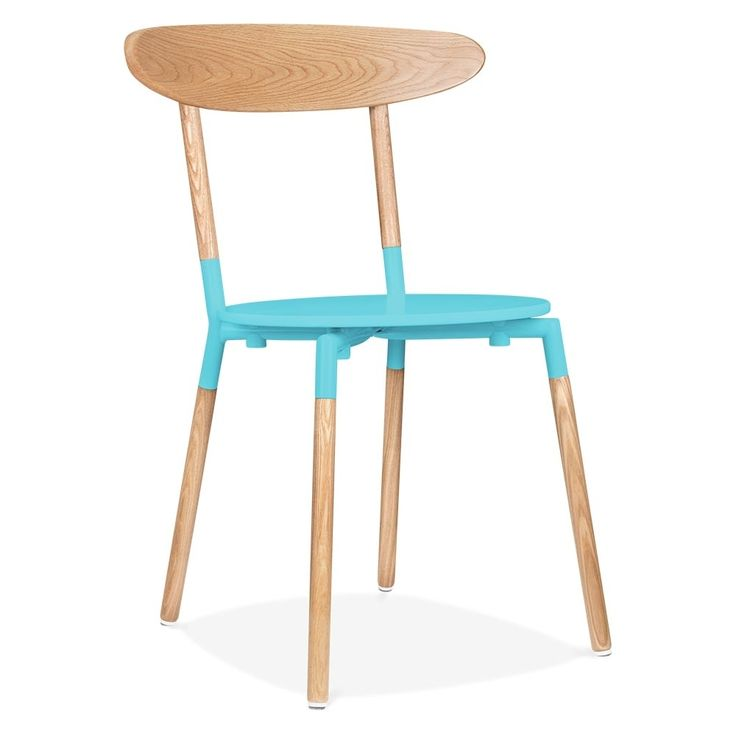 Cult Living Chic Dining Chair With Ash Veneer Back - Blue