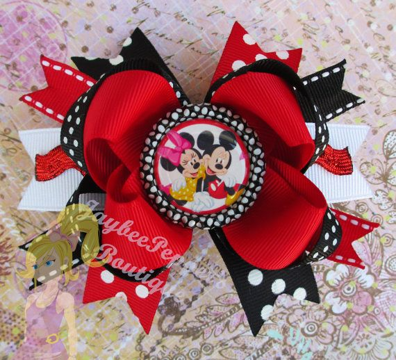 Minnie Mouse hair bows Mickey Mouse bottle cap over the top boutique hair clip disney girls red black headband cute summer vacation