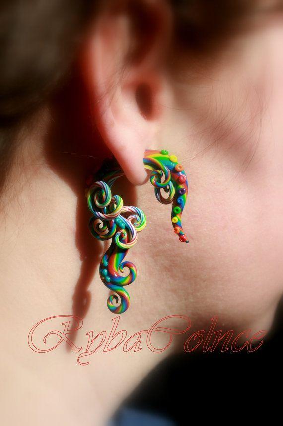 Fake+ear+tentacle+gauge+-+Faux+gauge%2FGauge+earrings%2FTentacle+plug%2Ftentacle+earrings+%2Fspiral+gauge%2F+fake+piercing