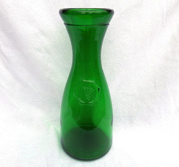 Green Glass Carafe Wide Neck Wine or Water by BlackSquirrelHome