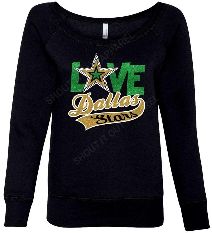 Dallas Stars Hockey sweatshirt, hockey slouch neck, Stars, Stars glitter shirt by ShoutitOutApparel on Etsy