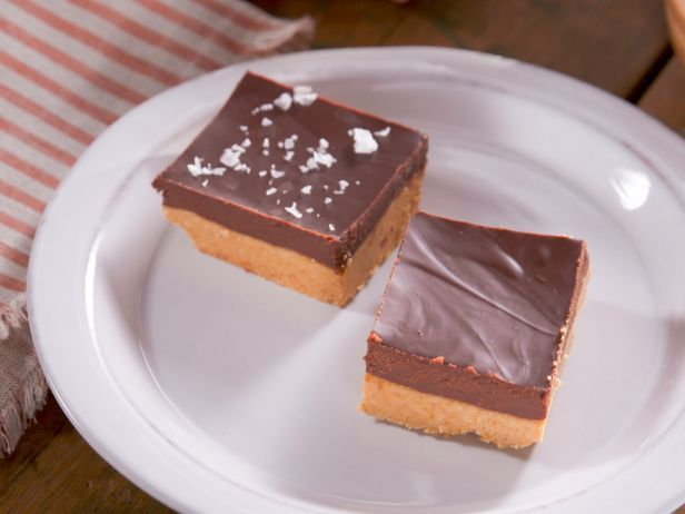 Peanut Butter Bars with Salted Chocolate Ganache : Featuring a rich base of crushed graham crackers and creamy peanut butter and a topping of smooth melted chocolate, this top-rated dessert is the ultimate in sweet-tooth-satisfying indulgence.