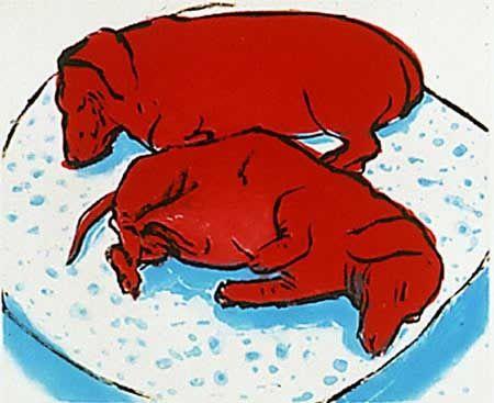 """""""Собаки горизонтальные"""" Дэвид Хокни (англ. David Hockney, р. 1937) - современный британский, американский художник, теоретик искусства. Биография, картины: http://contemporary-artists.ru/David_Hockney.html"""