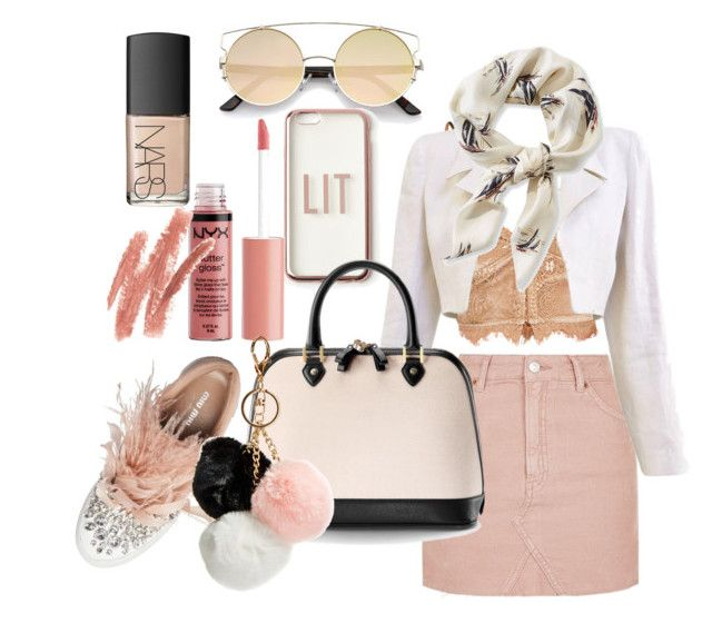 """""""Nude pink outfit"""" by hielyaamelia on Polyvore featuring Topshop, Chanel, L.L.Bean, Miu Miu, Missguided, Charlotte Russe, NARS Cosmetics, Aspinal of London and GUESS"""