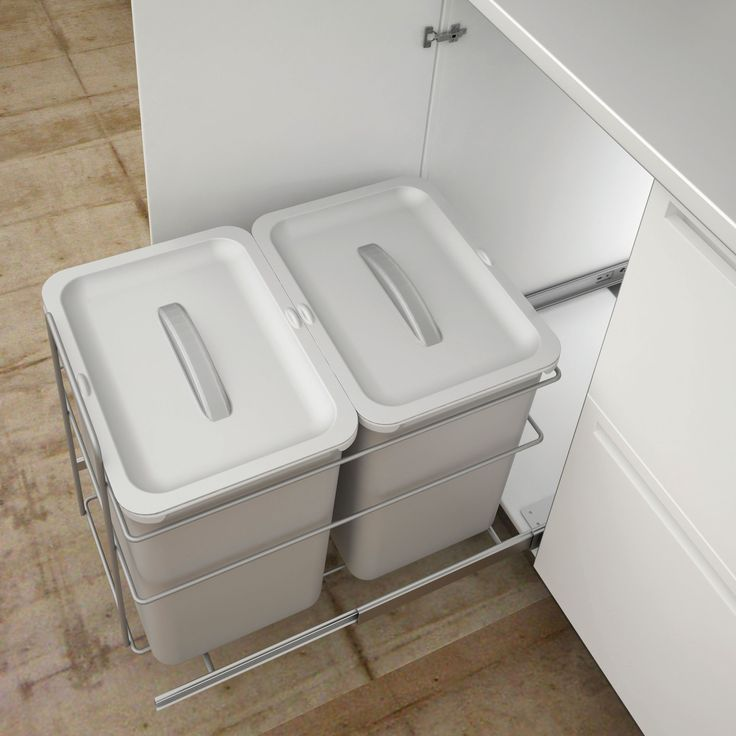 IT Kitchens 400 mm Integrated Base Mount Pull-Out Kitchen Bins, 32L   Departments   DIY at B&Q