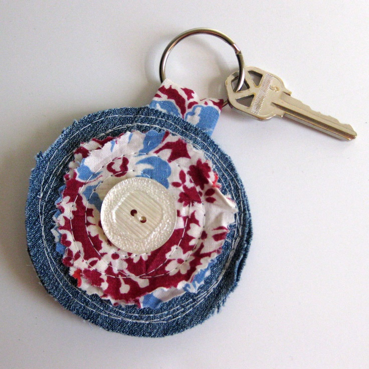 Flower keychain with recycled denim on Etsy