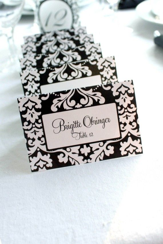 printable wedding place cards vintage%0A Editable Bold Damask Printable Place Cards