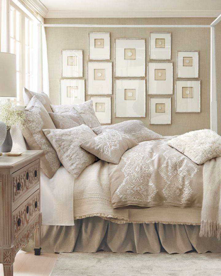 Callisto Home  Glory  Bed Linens   home and bedding  lace motif  natural. Best 25  Taupe bedding ideas on Pinterest   Large bed linen  Large