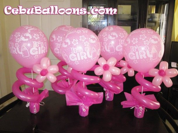 Girl dedication with flower centerpieces balloon baby for Balloon decoration for christening party