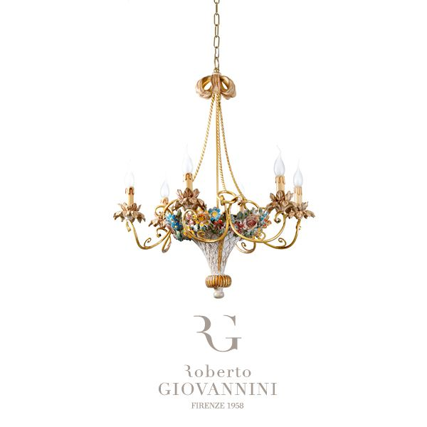 Six Lights Chandelier Basket of Flowers 🌸🌷🌺 Discover it on the website! #robertogiovannini