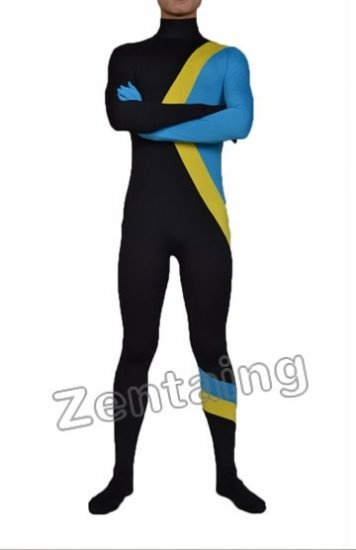 Black Yellow And Blue Lycra Spandex Catsuit Zentai