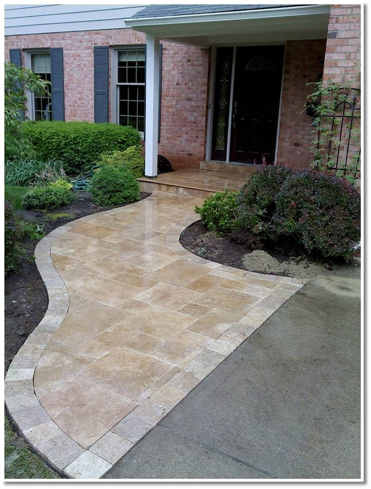 Travertine Walkway Landscape Design Patio Flooring