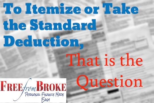 To Itemize or Take the Standard Deduction, That is the Question