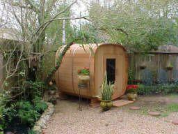 Customer installed 6x6x6 Cedar Barrel Sauna