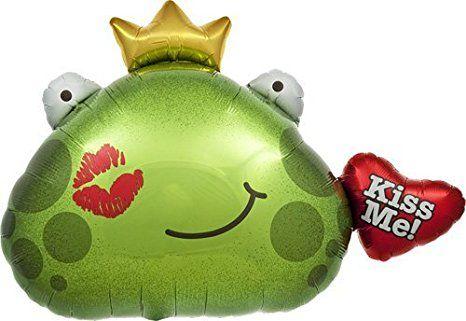 Folienballon Frosch mit goldener Krone Kussmund grün Kiss Me ca. 81 cm Valentinstag