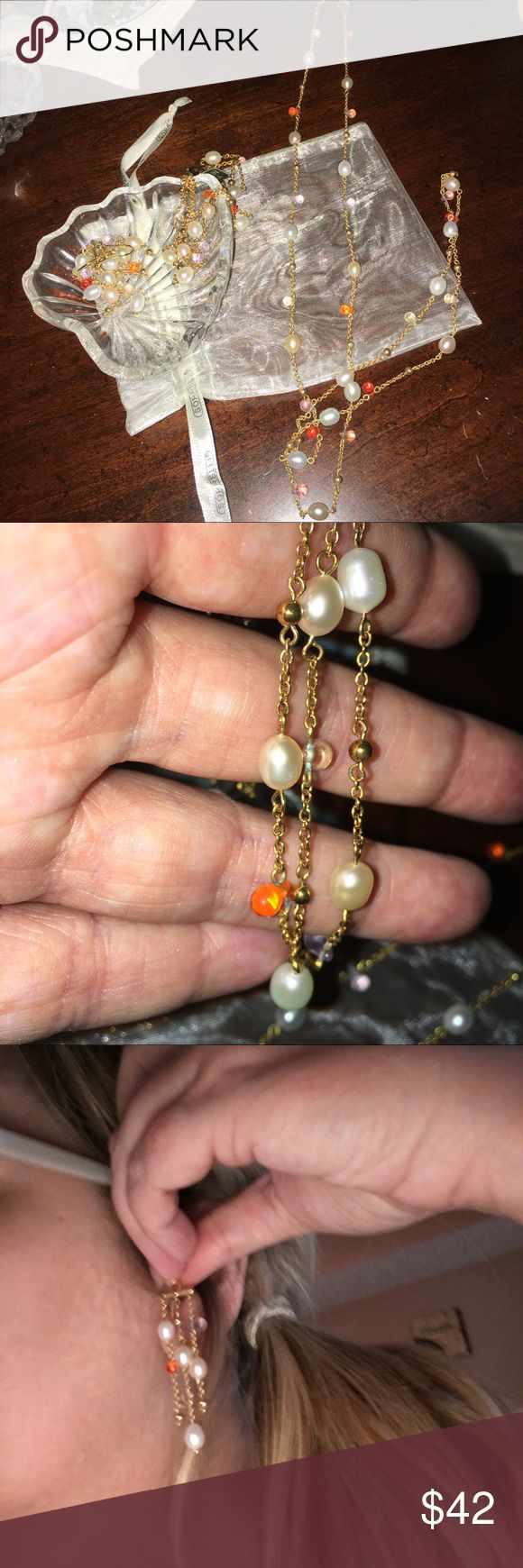 Set of Chandelier earrings, bracelet & necklace. High Quality Costume set, Brand New with fresh water pearls, tanzanite and amber with gold plated 3 strand bracelet & necklace can be double as chocker or 2 strands. Beautiful and goes with everything. Make an offer. Jewelry Necklaces