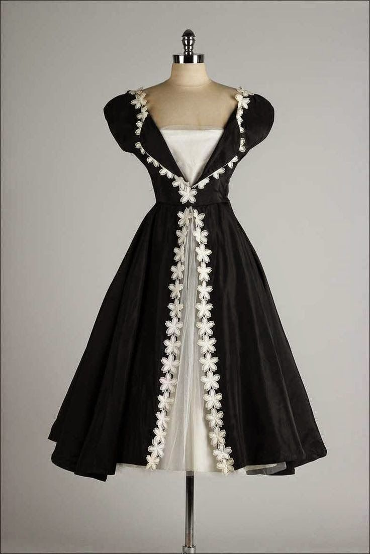 black white vintage dress