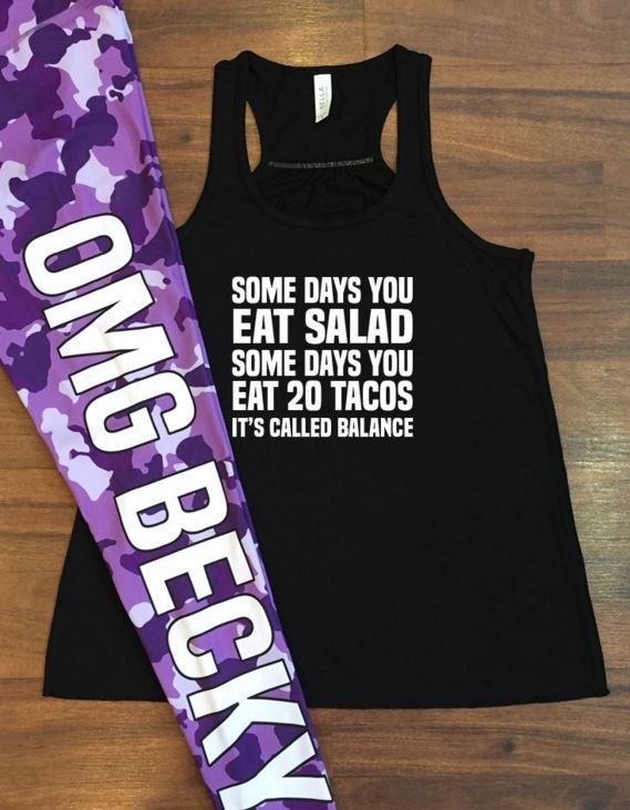 Purple camo OMG becky leggings paired with cute workout tank top - fitness clothes