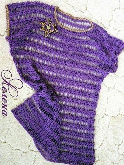 Katia Ribeiro Moda & Decoração Handmade: Blusa Roxa em Crochê com Gráfico do Ponto