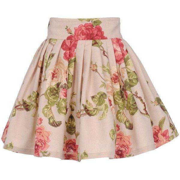 MARTA FERRI Mini skirt ($185) ❤ liked on Polyvore featuring skirts, mini skirts, bottoms, saias, faldas, beige, pleated skirt, pink skirt, beige skirt and floral skirt