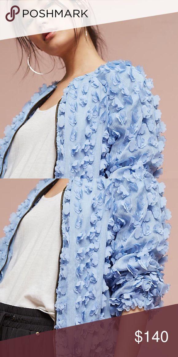 Tufted Floral Bomber by Eva Franco Textured chiffon baby blue bomber. Has zipper down front Eva Franco Jackets & Coats