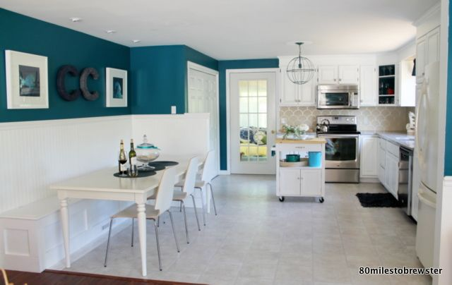 cape cod kitchen renovation.. banquet / dining nook, granite, painted cabinets,