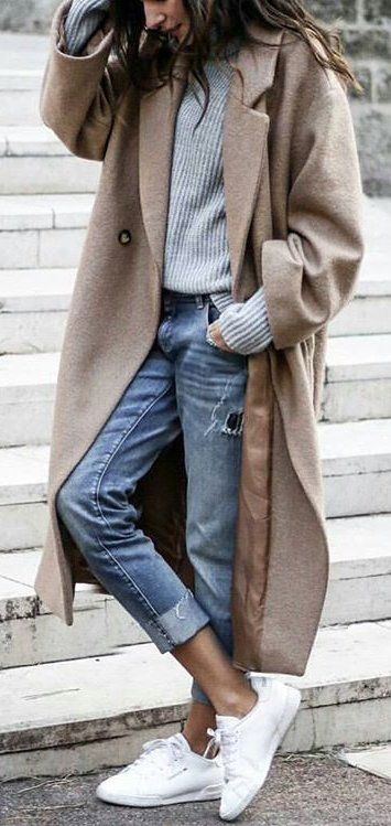 #winter #fashion /  Light Coat + Grey Knit + White Sneakers + Cropped Denim