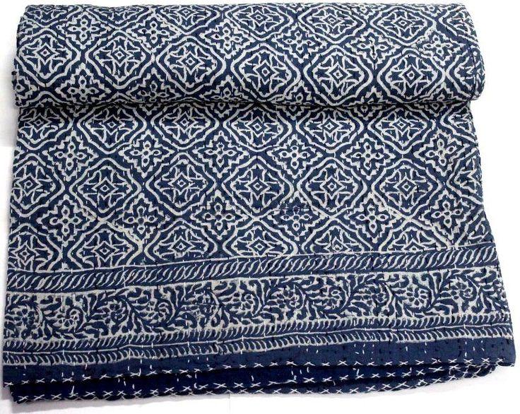 Indigo Blue Hand Block Dabu Print Cotton Kantha Bed Cover Bedspread Quilt Throw #KhushiHandicraft #ArtDecoStyle