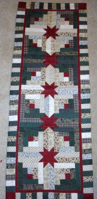 Instructions only LOG CABIN STAR Christmas table runner pattern December Year one- pieced quilted