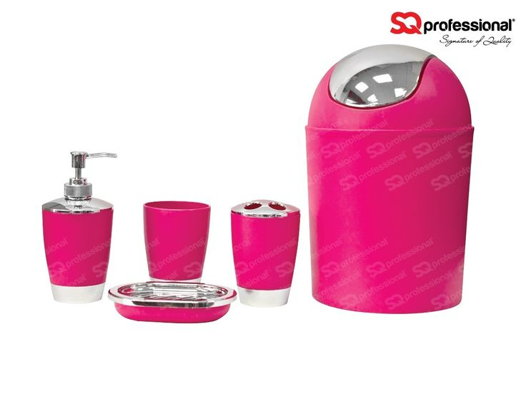 Bathroom accessory set 5pc - PINK - You asked for more bathroom accessory sets and we listened - they're back! Now with new bold and exciting colours! This is a modern and contemporary bathroom set. These eye catching colours will bring character and life to any bathroom. The set comprises of: 3 L waste bin | Soap dish | Soap dispenser | Toothbrush holder | A rinse cup. These are going fast so catch them while you can! #bathroom #accessory #pink #special #deal #sqprofessional