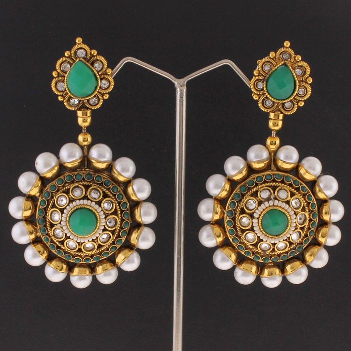 Green and pearl earrings available at Indiatrend