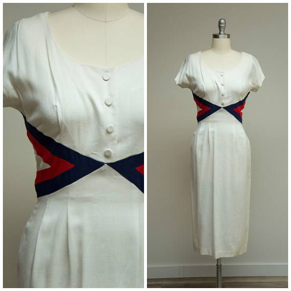 Vintage 1950s Dress • Independence Day • White Rayon Linen 50s Sheath Dress with Red Blue Trim Size Small