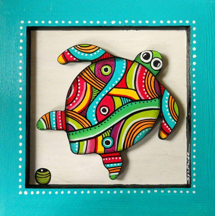 """Tableau en bois peint de """"Kawann"""" la tortue des mers : Décorations murales par sylphide"""