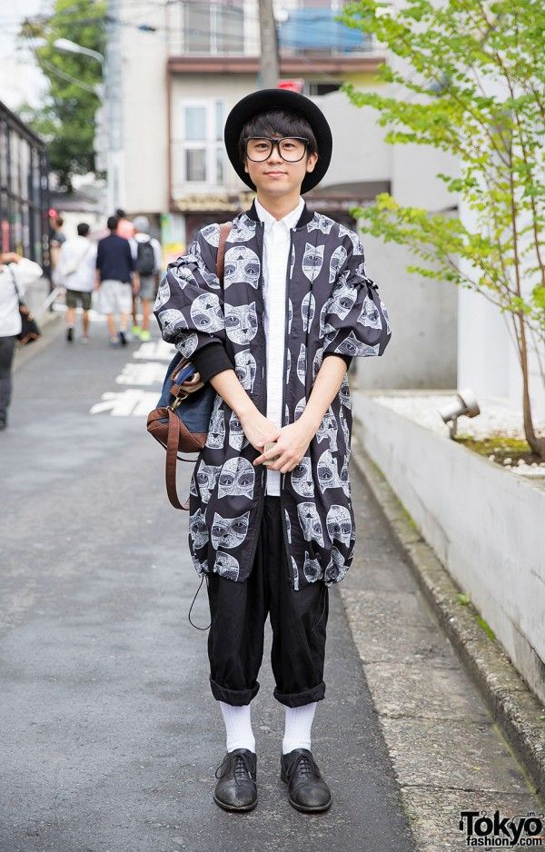 Harajuku Guy w/ Glasses & Bowler Hat in Cat Print Jacket, Y's Pants & Uniqlo (Tokyo Fashion, 2015)