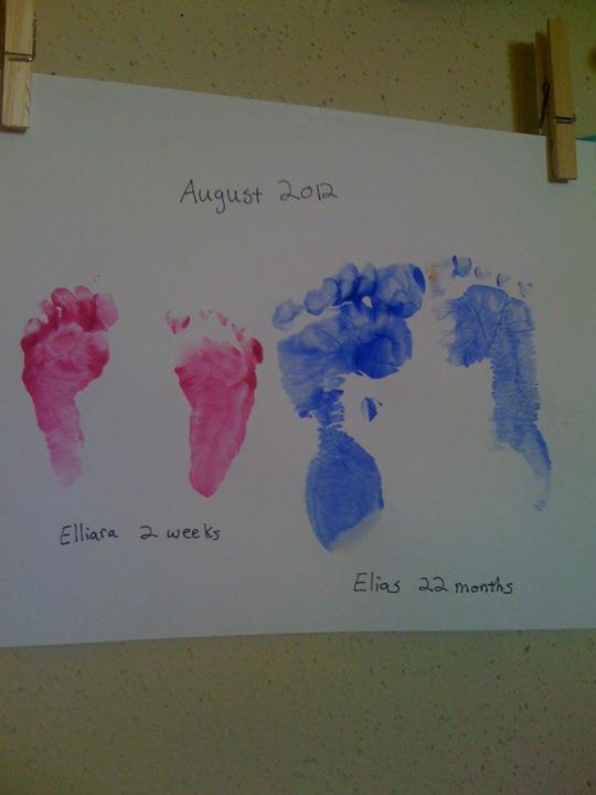 Use finger paints to mark big brother/little sister foot prints right after the baby's birth